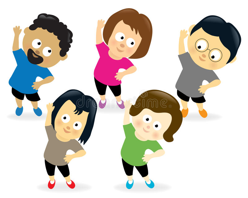 Adults exercising. Illustration of a group of adults exercising royalty free illustration