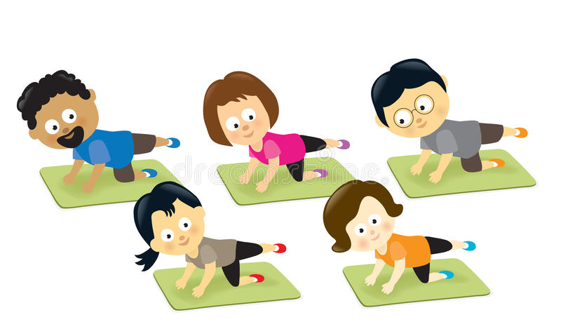 Adults exercising on mats. Illustration of diverse adults exercising on mats royalty free illustration