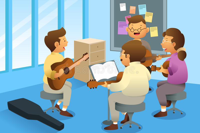 Adults in a guitar class. A vector illustration of adults in a guitar class vector illustration