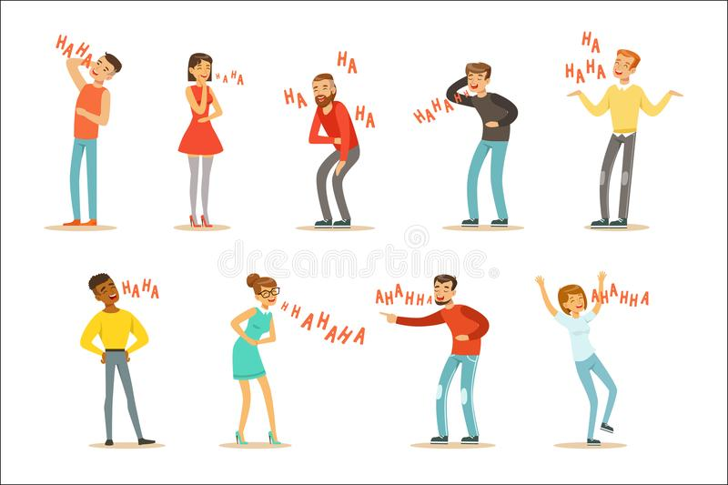 Adults Hysterically Laughing Out Loud Set Of Cartoon Characters With Laughter And Giggle Spelled In Text. Vector Illustrations With People Smiling And Having stock illustration