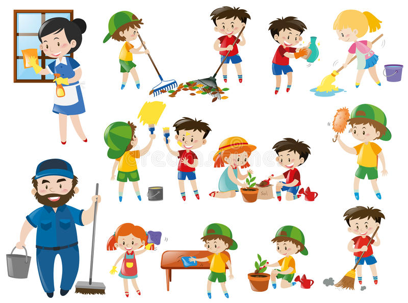 Adults and kids in various cleaning positions. Illustration royalty free illustration