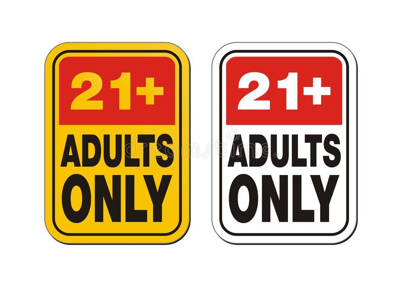 21 for adults only signs. Suitable for warning signs stock illustration