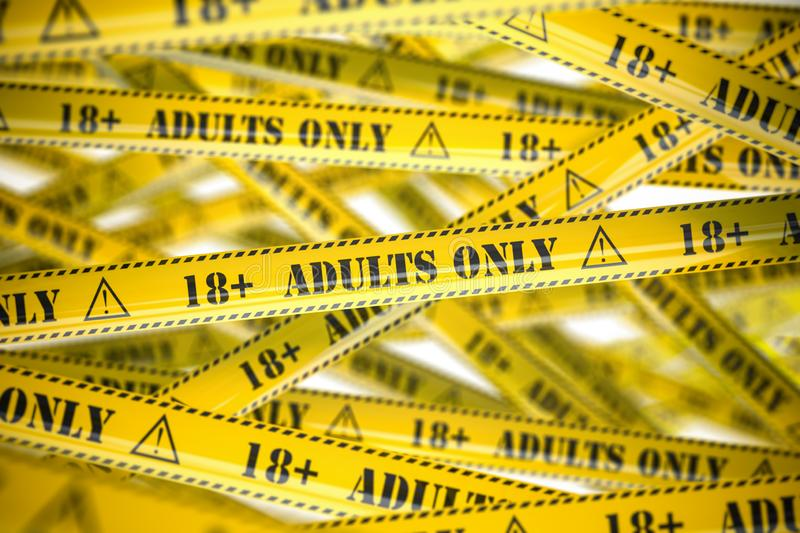 Adults only, yellow warning tapes with inscription. 3d illustration vector illustration