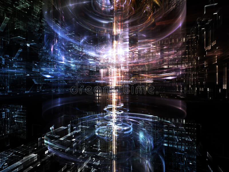Advance of Fractal Metropolis. Fractal City series. Backdrop of three dimensional fractal structures and lights to complement your design on the subject of stock images