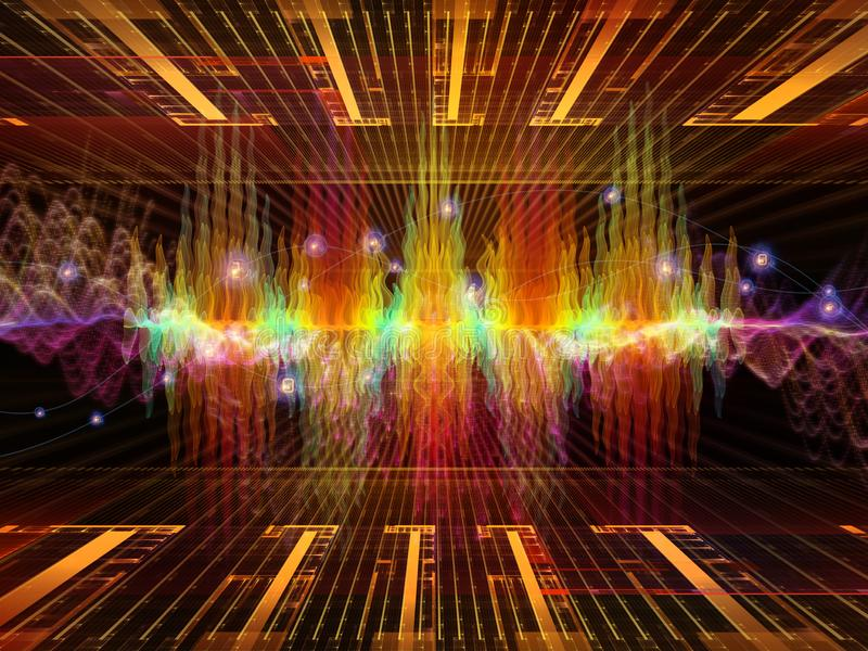 Advance of Oscillation. Wave Function series. Background design of colored sine vibrations, light and fractal elements on the subject of sound equalizer, music stock images