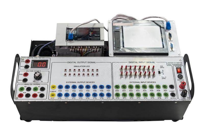 Advance technology automatic Programmable Logic Controller PLC high precision & accuracy equipment for training or simulation. Connection system control royalty free stock photos