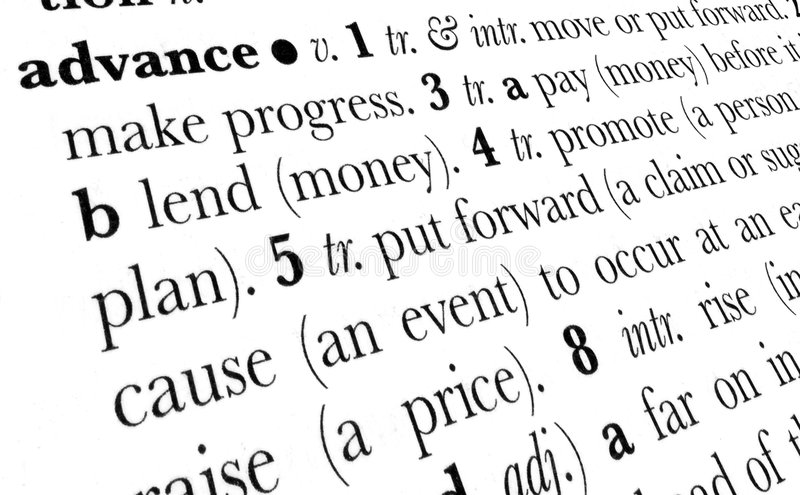 Advance word dictionary term royalty free stock image