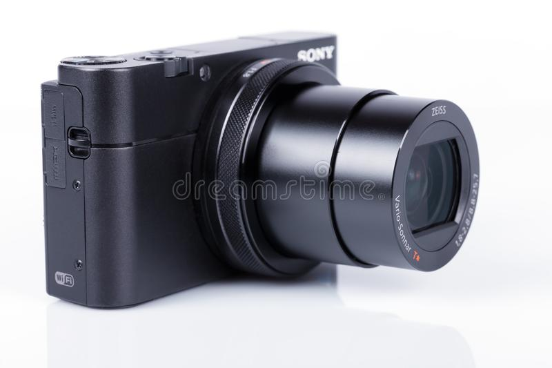 Advanced compact camera Sony DSC-RX100 M5 isolated on white. One of the best high-end compact cameras stock photos