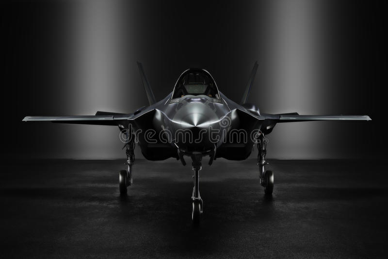 Advanced F35 secret jet in an undisclosed location with silhouette lighting. 3d rendering vector illustration