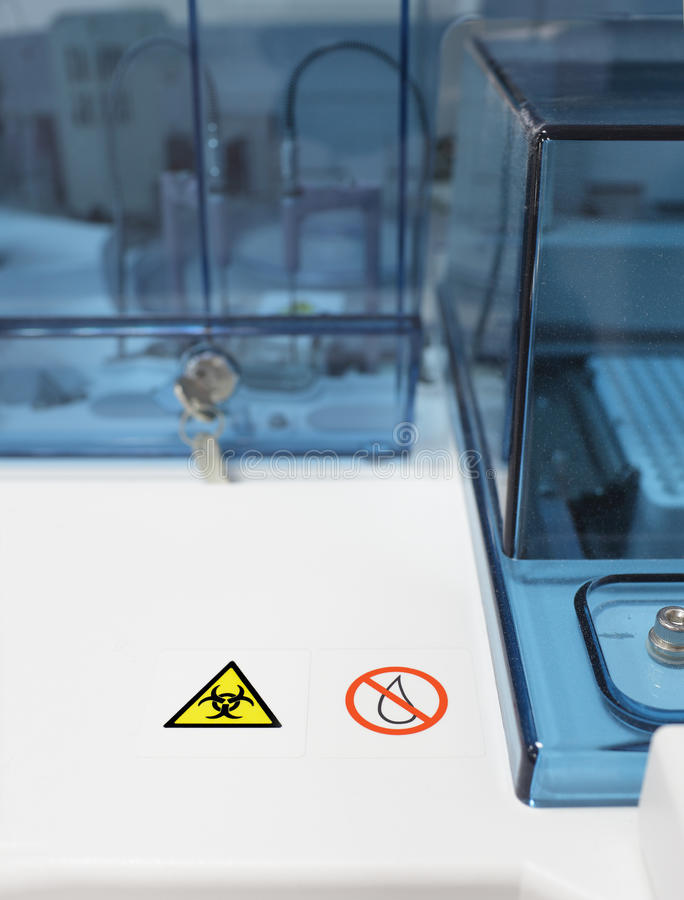 Advanced Laboratory Mechanism With Biohazard Sign. Royalty Free Stock Image