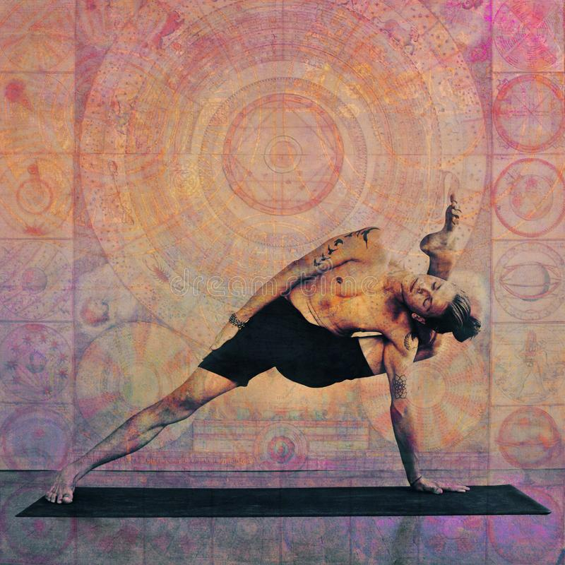 Yoga Man Mandala Meditation royalty free stock photo