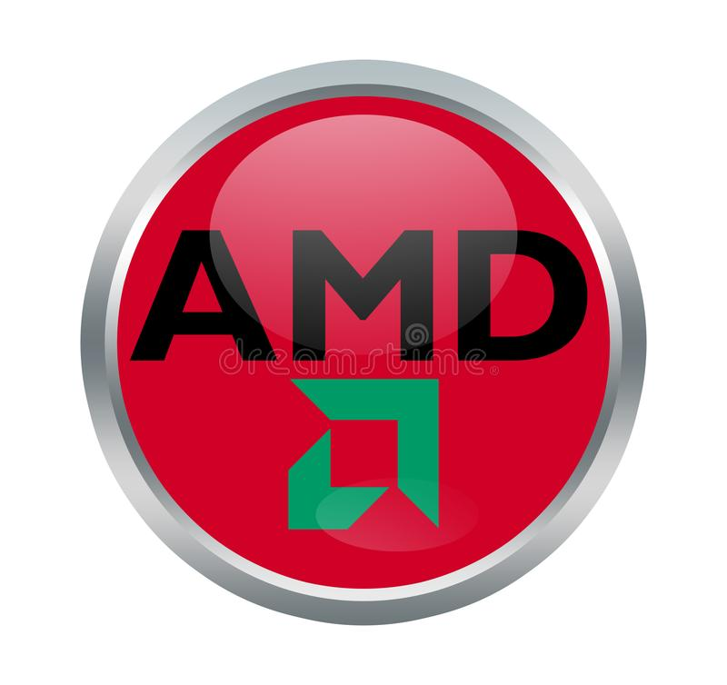 AMD company sign. Advanced Micro Devices, Inc. is an American multinational semiconductor company based in Santa Clara, California & Austin, Texas that develops stock illustration