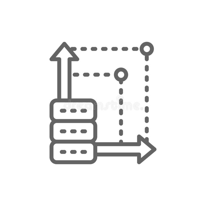 Advanced server, more space in cloud storage line icon. stock illustration