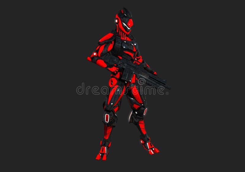 Advanced super soldier. 3d render of advanced super soldier stock illustration