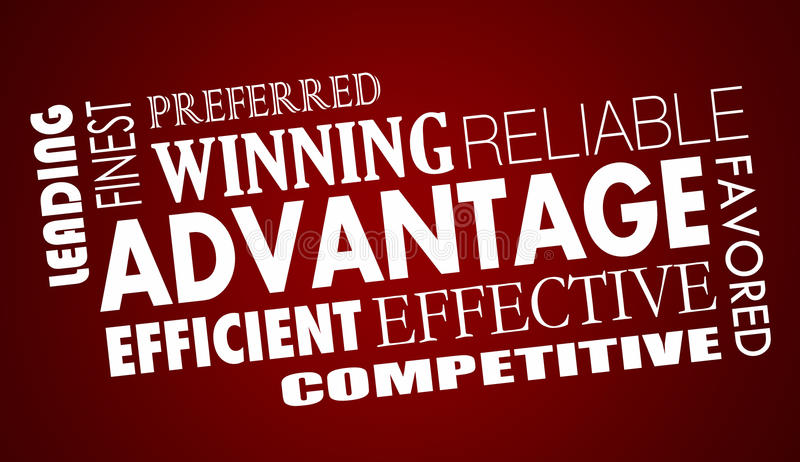 Advantage Benefits Competitive Edge Words Collage stock illustration