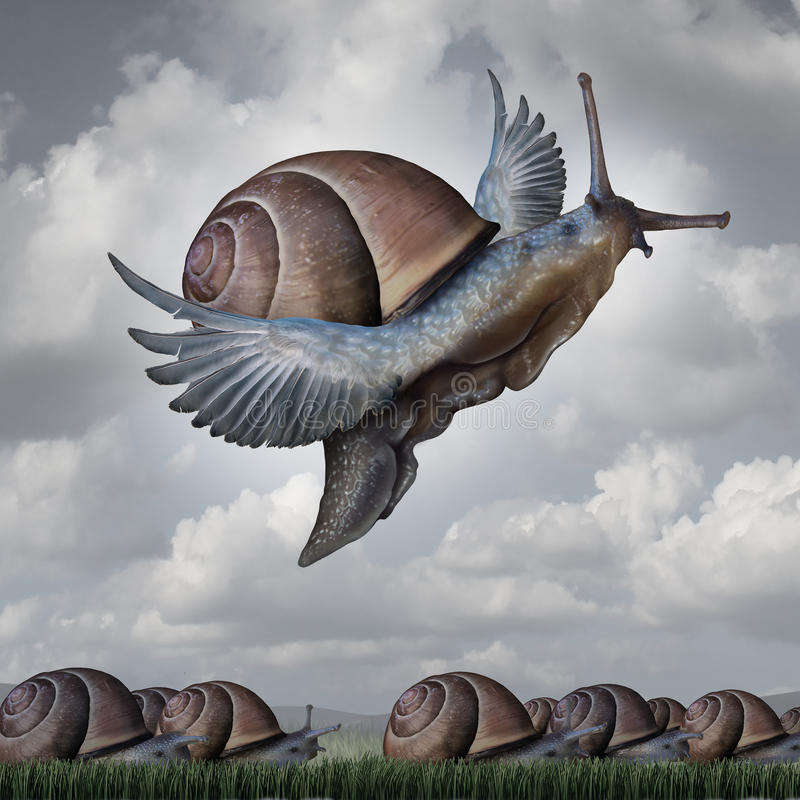 Advantage. Concept as a business metaphor with a surreal crowd of snails crawling slowly on the ground contrasted with a flying snail with wings as a symbol for royalty free illustration