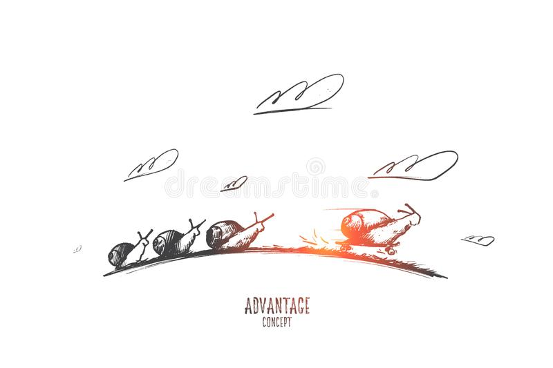 Advantage concept. Hand drawn isolated vector. Advantage concept. Hand drawn sprint fast of snails like competition. Four snails racing forward isolated vector royalty free illustration