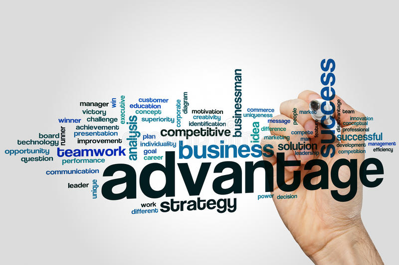Advantage word cloud concept on grey background royalty free stock photo