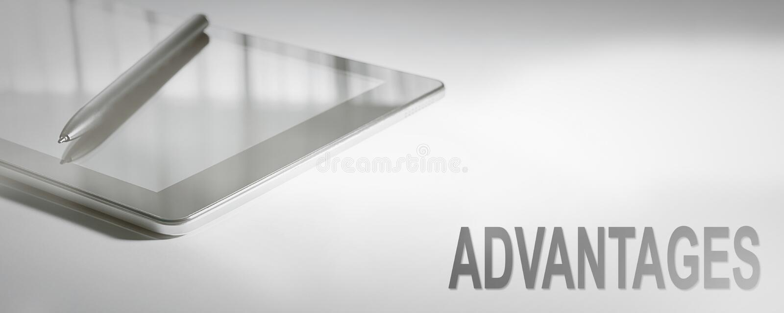 ADVANTAGES Business Concept Digital Technology. Graphic Concept royalty free stock photography