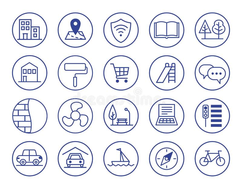 Advantages of new housing. Icons set. stock photo