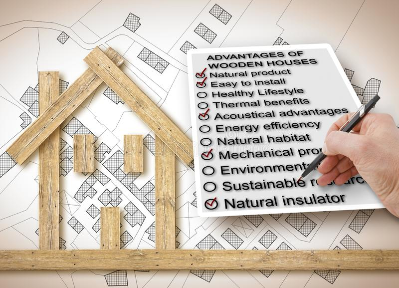 The advantages of wood as a building material in the construction industry - concept image.  royalty free stock photo