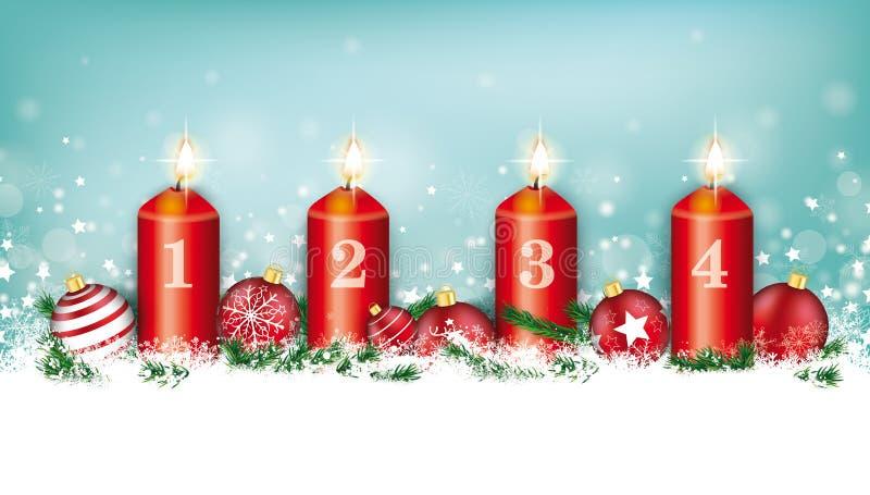 Advenimiento ciánico de las chucherías 4 de los copos de nieve del jefe de la tarjeta de Navidad stock de ilustración