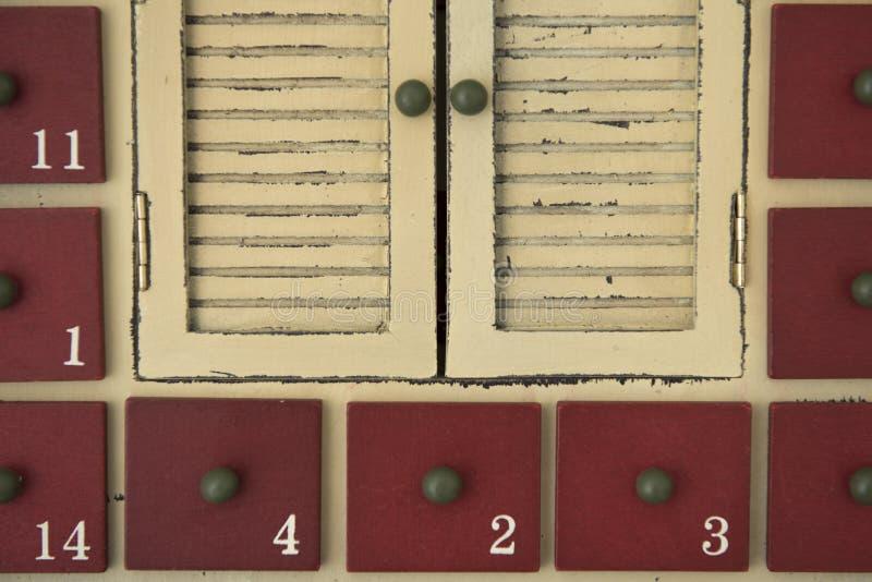 Advent calendar. Doors of the Advent box royalty free stock image