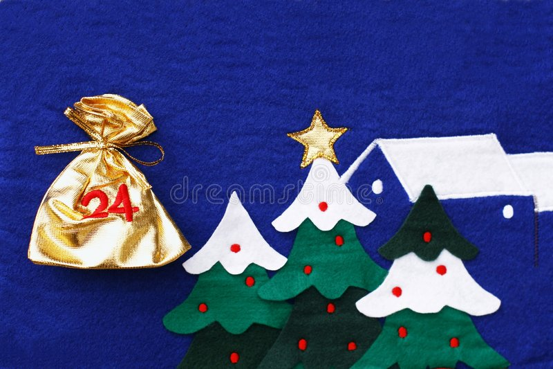 Advent calendar. View of Advent calendar with gold bags for presents stock image