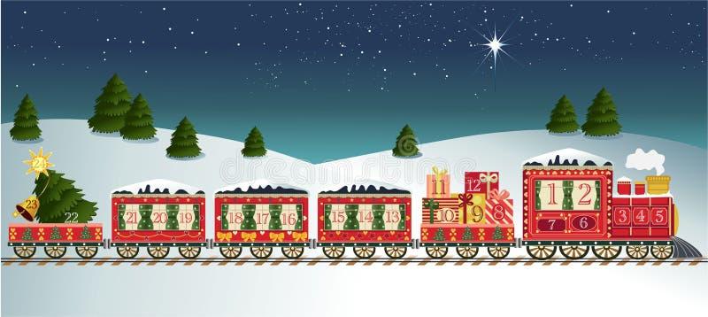 Advent calendar. With cartoon train royalty free illustration