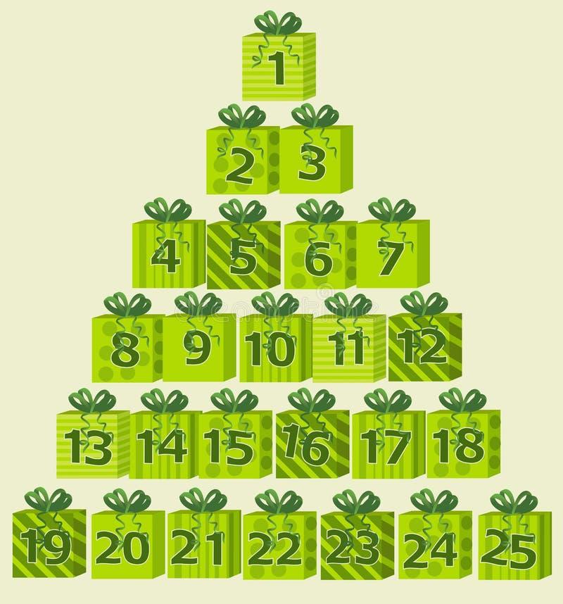 Advent calendar. Christmas background with advent calendar vector illustration
