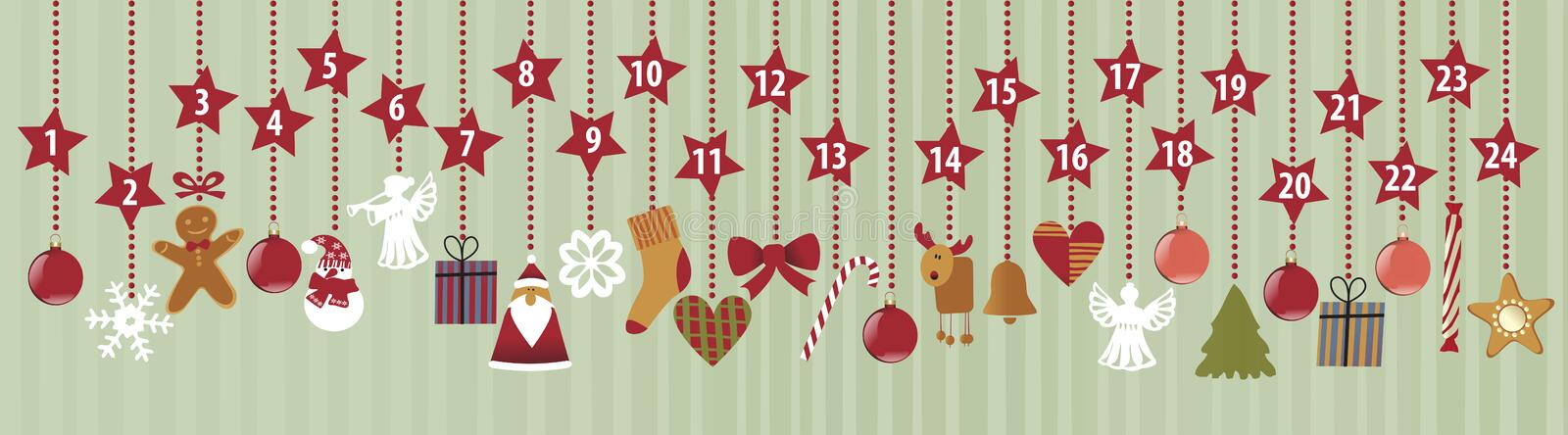 Advent Calendar. With Christmas decorations royalty free illustration