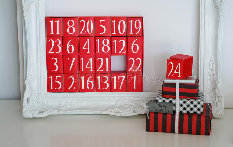 Advent Calendar and Christmas Presents. Interior Decoration for Christmas, Merry Christmas Message stock images