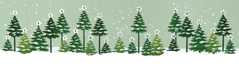 Advent Calendar. With Christmas trees vector illustration