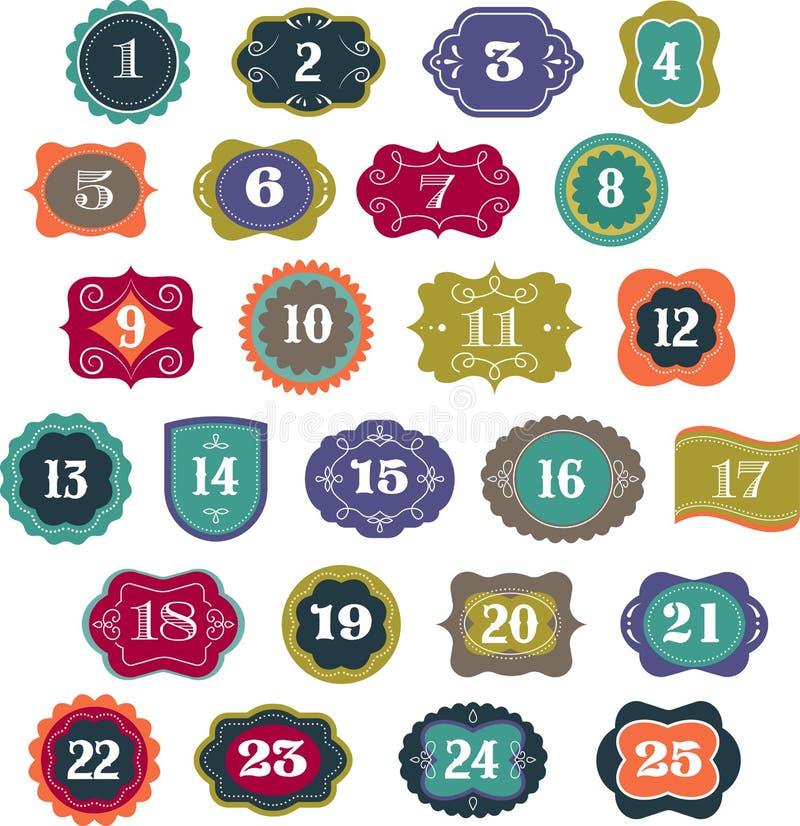 Advent Calendar - etiquetas, etiquetas, elementos stock de ilustración