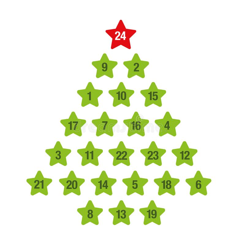 Advent calendar green christmas tree royalty free illustration