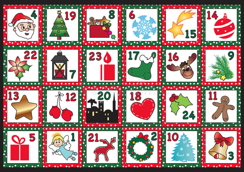 Advent calendar. Illustration for advent calendar with funny icons royalty free illustration