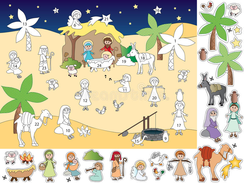 Advent calendar. Illustration of advent calendar with nativity stock illustration