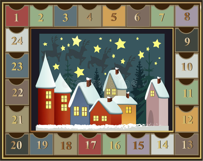 Advent calendar. With little town stock illustration