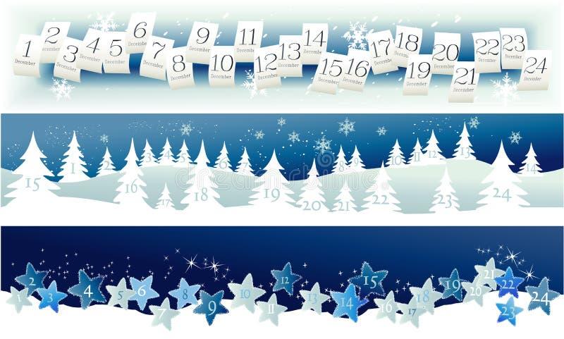 Advent calendar. Three banners with Advent Calendar stock illustration