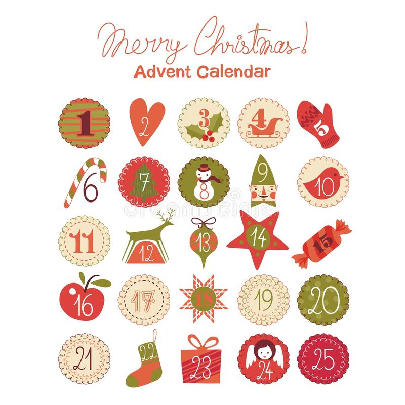 Advent Calendar. With various seasonal objects and symbols vector illustration