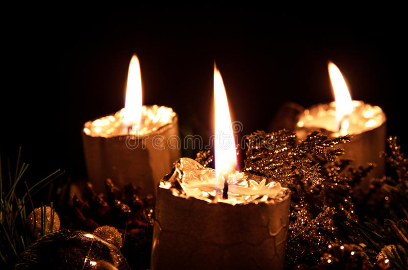 Advent candle. Four burning advent candle image stock image