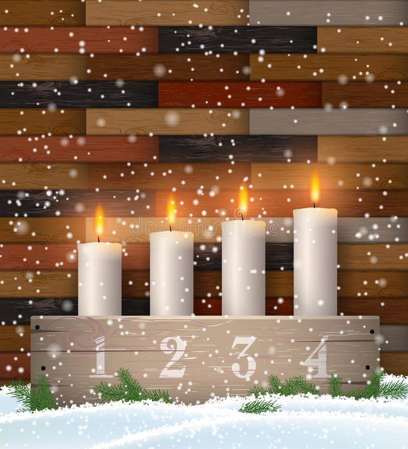 Advent candle holder with four white candles. On brown wooden background with parquet pattern, vector illustration, eps 10 with transparency royalty free illustration