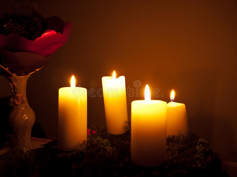 advent candles stock photo image of burning home branch. Black Bedroom Furniture Sets. Home Design Ideas