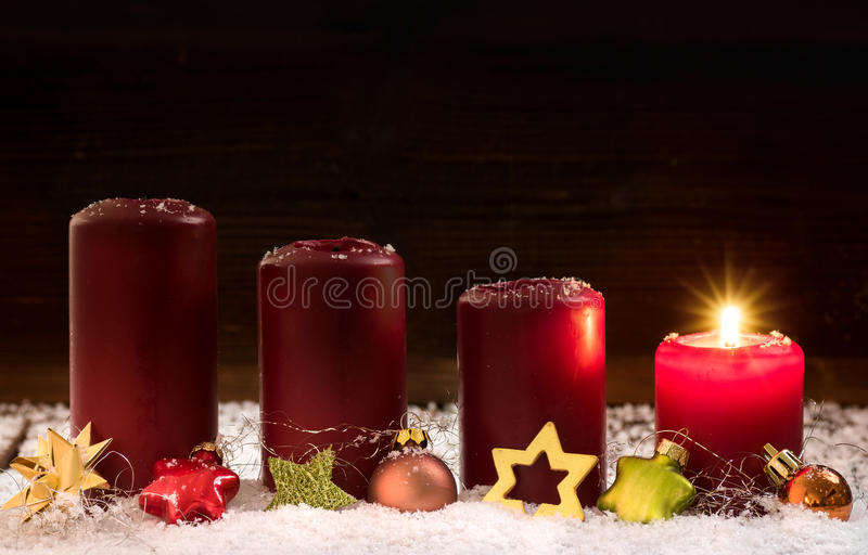 1. Advent. Candles for the first advent royalty free stock photography