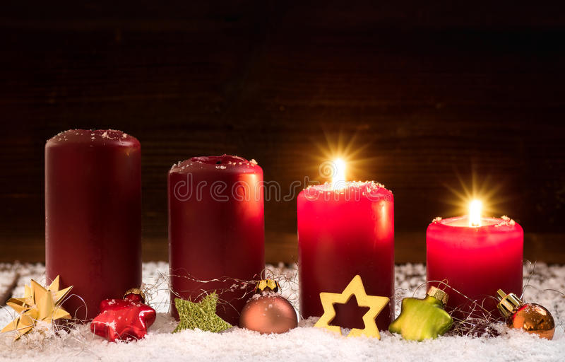 2. Advent. Candles for the second advent royalty free stock images