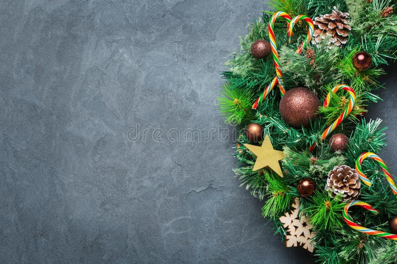 Advent christmas door wreath with festive decoration stock photos