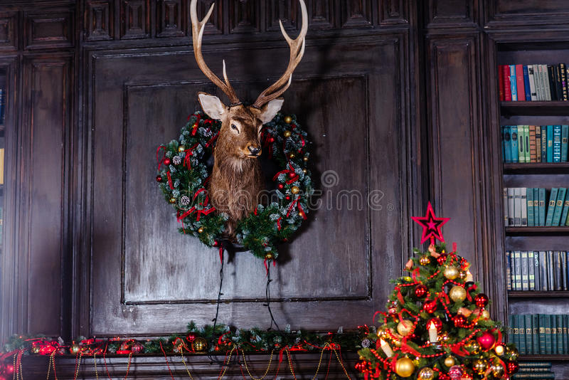 Advent Christmas wreath on door decoration stock image