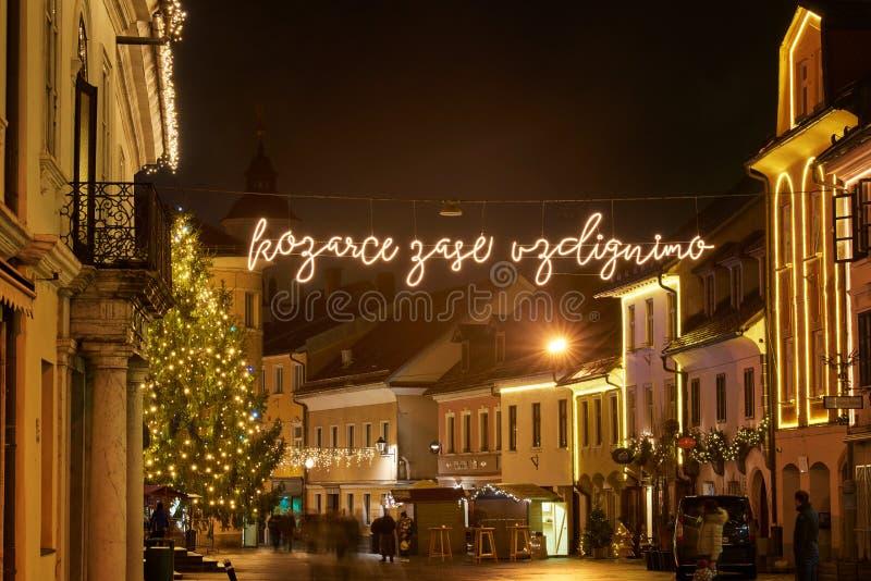 KRANJ, SLOVENIA - DECEMBER 13, 2017: advent December night with Christmas decoration lighting in Kranj. Advent December night with Christmas decoration lighting stock images