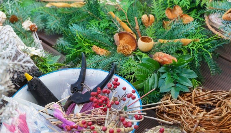 Advent floristry, garden scissors, glue gun. Advent floristry with garden scissors and glue gun royalty free stock photos