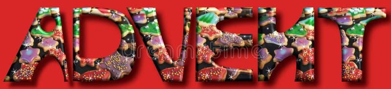 Advent kommer stora bokstäver och kakor på en julbackgr royaltyfri illustrationer